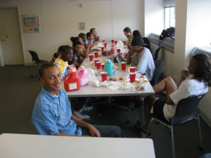 ProCSI 2008 members eat a meal