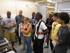 ProCSI 2009 members wearing safety goggles in a lab