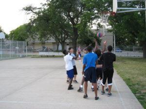 A ProCSI 2009 member puts up a shot in a basketball game