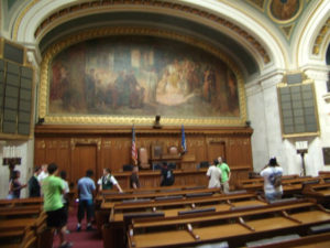 ProCSI 2011 members listen during a tour of the Wisconsin capitol