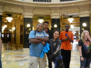 A few ProCSI 2014 members pose for a picture during a tour of the Wisconsin capitol