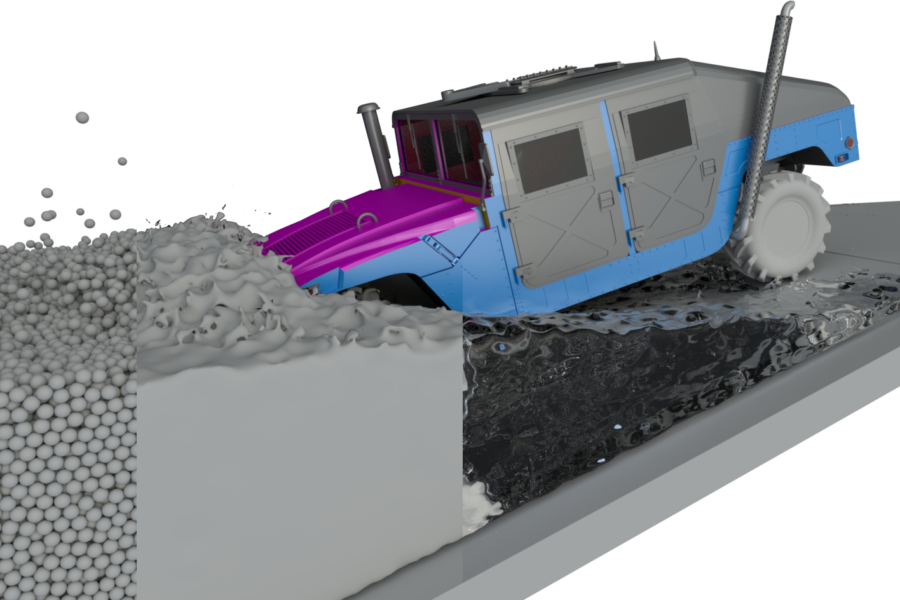 Screen shot from a simulation of a humvee entering fluid material