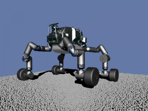 Screen shot of a robot walking in a simulation
